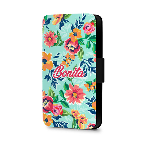 Personalised Name Initial Tropical Floral Background - Personalised Faux Leather Case - Ai Printing