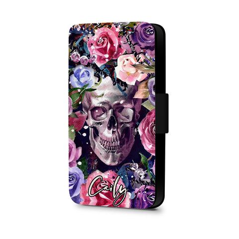 Personalised Name Initial Sugar Skull Watercolor Floral Background - Personalised Faux Leather Case - Ai Printing