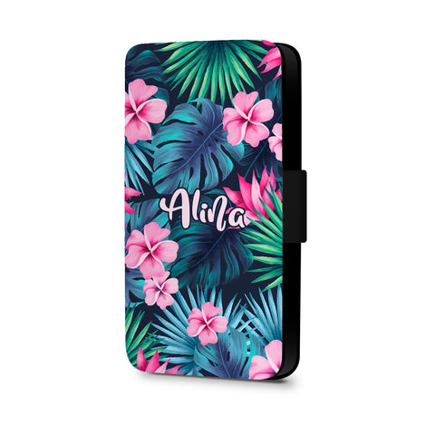 Personalised Name Initial Tropical Floral Watercolor Background - Personalised Faux Leather Case - Ai Printing