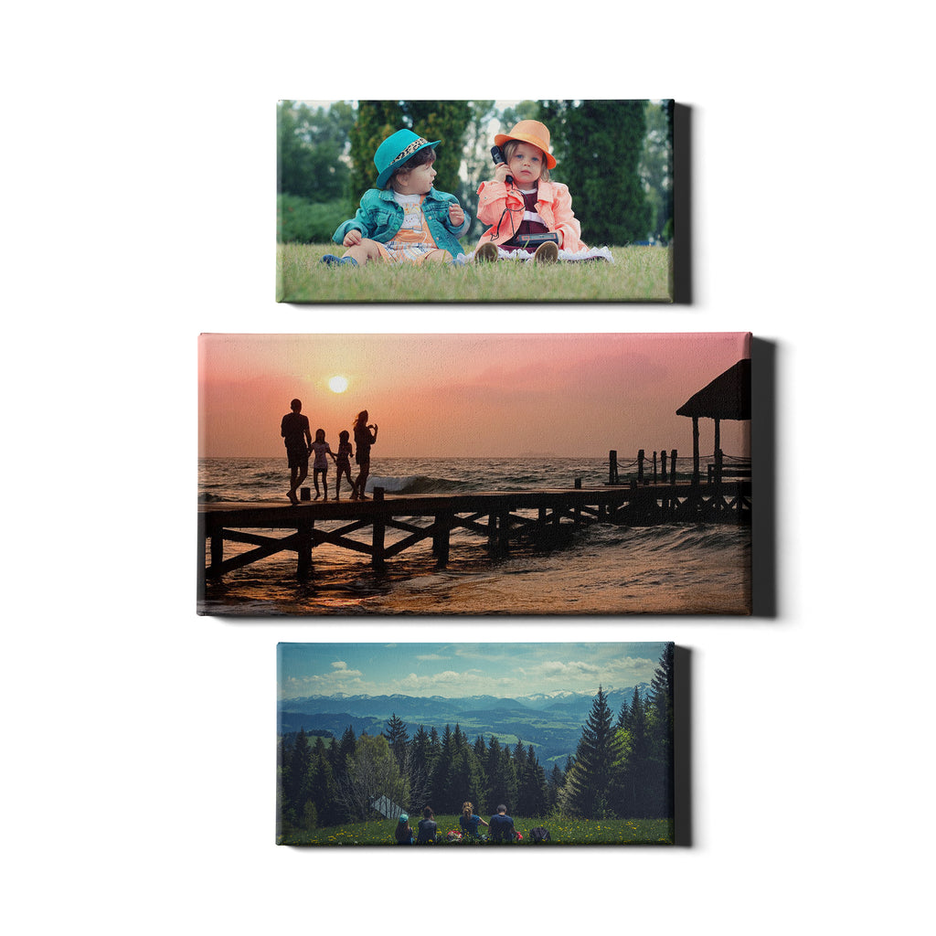 3 Panel Personalised Canvases - Collage Style Landscape - Dynamic Size - Ai Printing