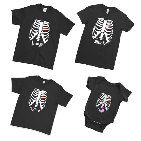 Trendy Skeleton Halloween Matching Family Couple T Shirt