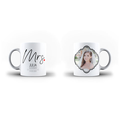 Personalised Mrs Wedding Photo Collage Mug Wedding Gift - Personalised Mug - Ai Printing