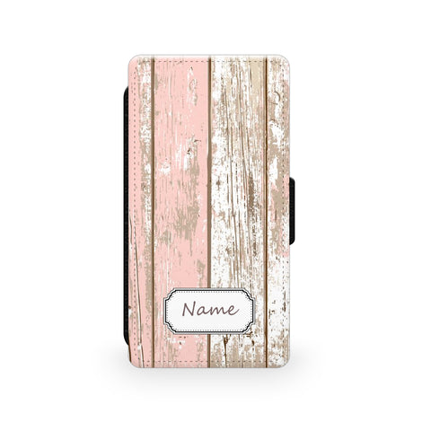 Pink Wood Effect Shabby Chic - Faux Leather Case - Ai Printing