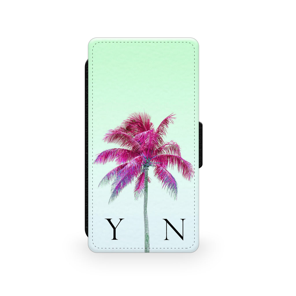 Green Sky & Pink Palm Tree - Faux Leather Case - Ai Printing