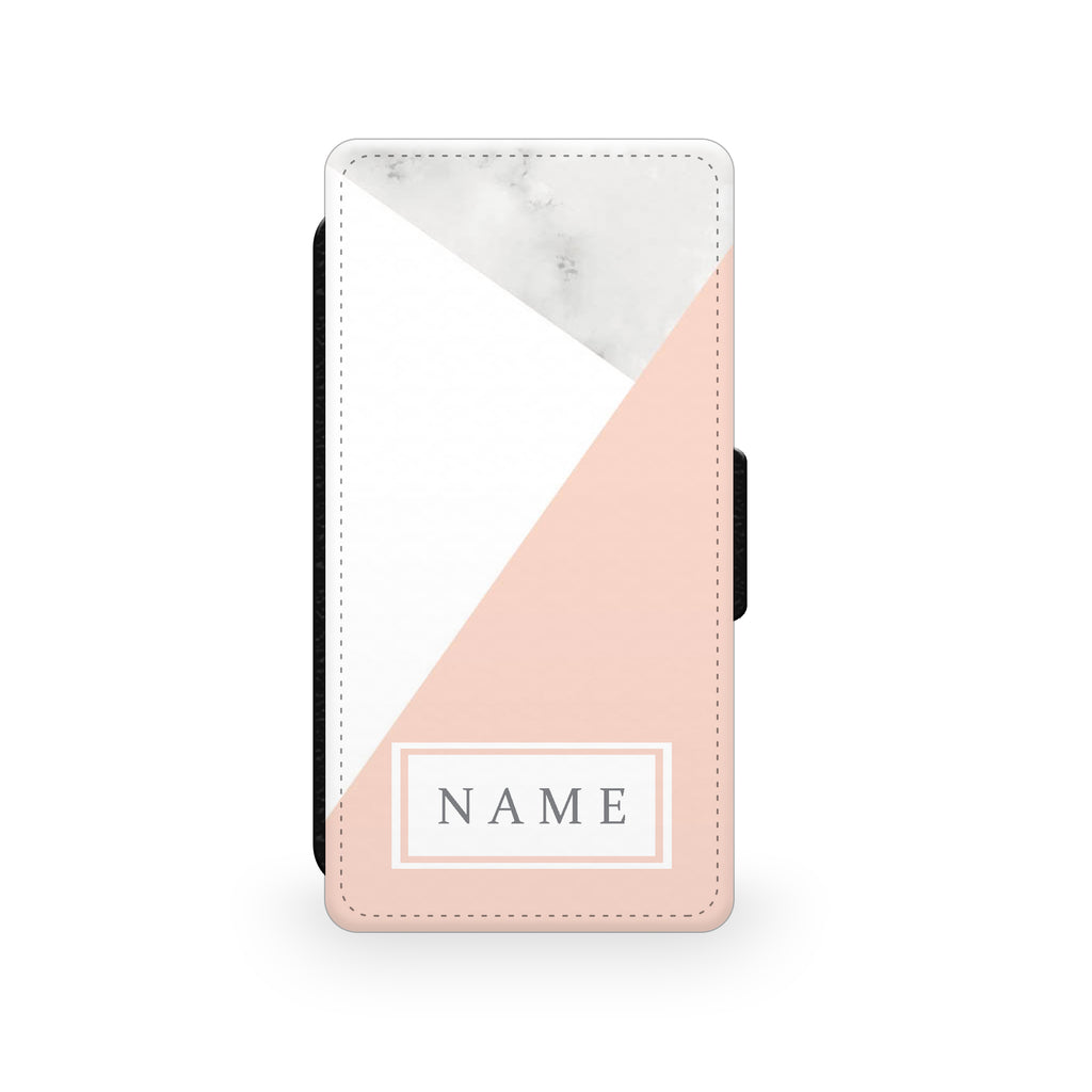 White & Pink Marble - Faux Leather Case - Ai Printing