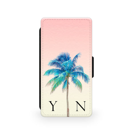 Peach Sky & Blue Palm Tree - Faux Leather Case - Ai Printing