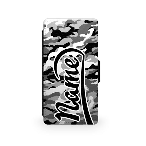 Grey Camouflage Print - Faux Leather Case - Ai Printing