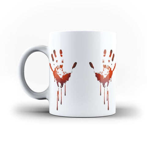Halloween Scary Bloody Hands Funny - White Magic And Inner Color Mug(mugs near me,mug website,Halloween,Halloween mug,scary halloween)