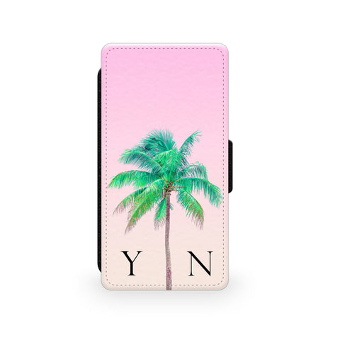 Pink Sky & Green Palm Tree - Faux Leather Case - Ai Printing