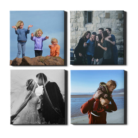 4 Panel Personalised Canvases - Collage Style Square - Fixed Sized - Ai Printing