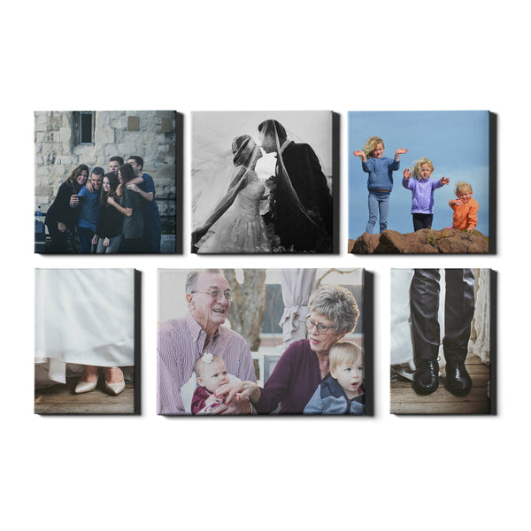 6 Panel Personalised Canvases - Collage Style Square, Portrait & Landscape - Fixed Sized - Ai Printing