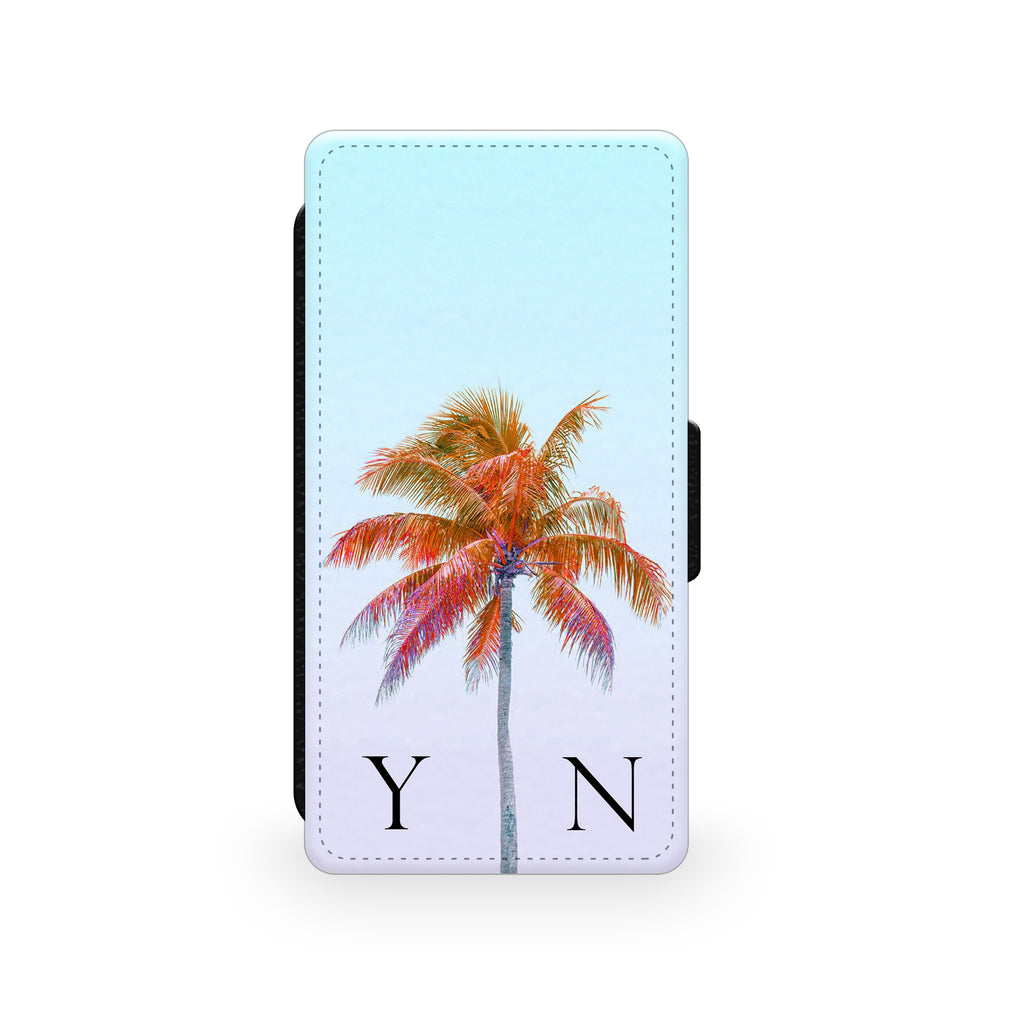 Light Blue Sky & Orange Palm Tree - Faux Leather Case - Ai Printing