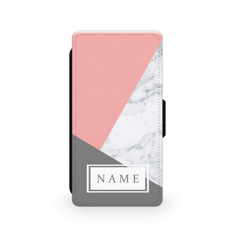 Pink & Grey Marble - Faux Leather Case - Ai Printing