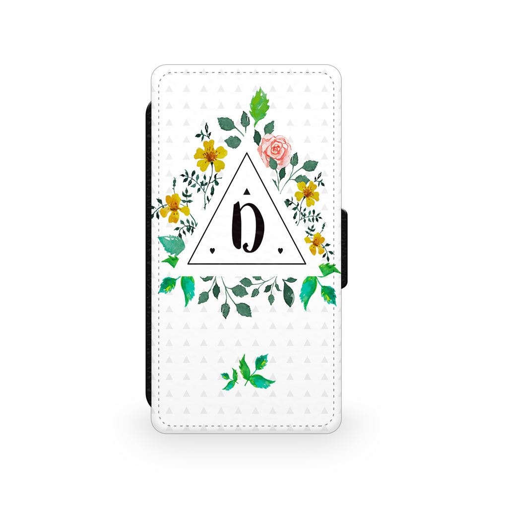 Floral Initial Triangle - Faux Leather Case - Ai Printing