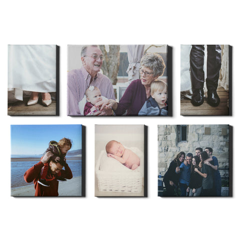 6 Panel Personalised Canvases - Collage Style Portrait, Landscape & Square - Fixed Sized - Ai Printing