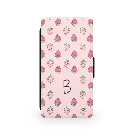 Pink Strawberry Pattern - Faux Leather Case - Ai Printing