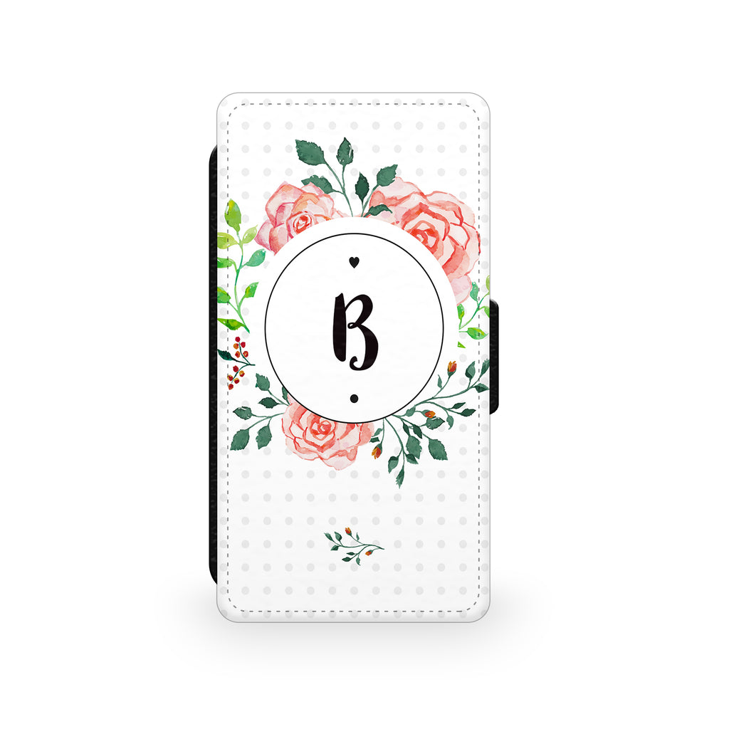 Floral Initial Circle - Faux Leather Case - Ai Printing