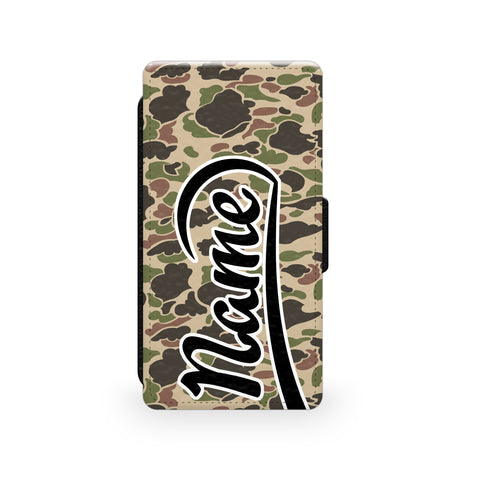 Beige & Green Camouflage Print - Faux Leather Case - Ai Printing