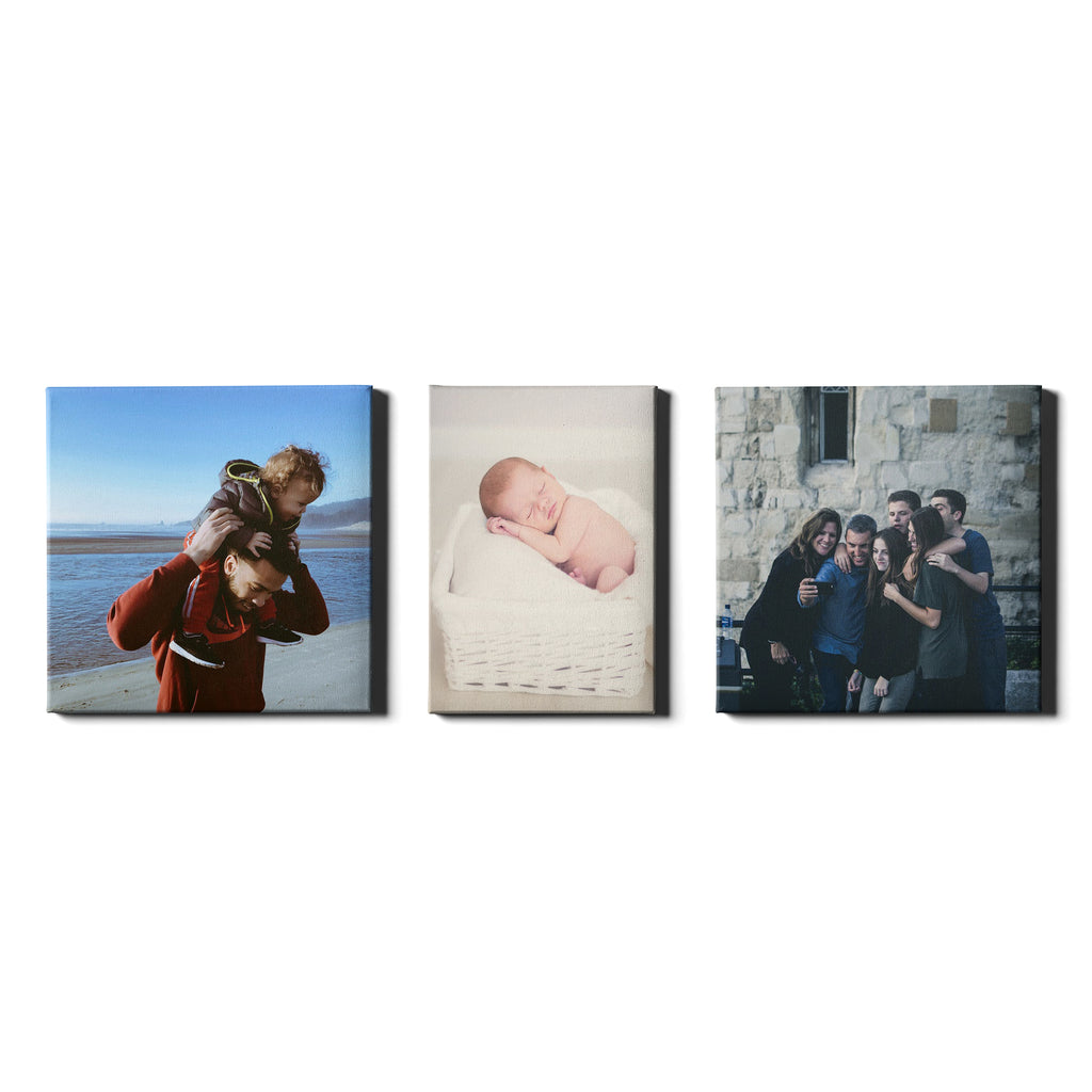 3 Panel Personalised Canvases - Collage Style Square & Portrait - Fixed Size - Ai Printing