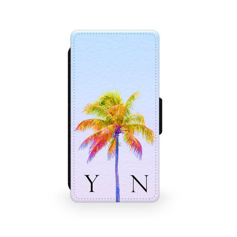 Light Blue Sky & Yellow Palm Tree - Faux Leather Case - Ai Printing