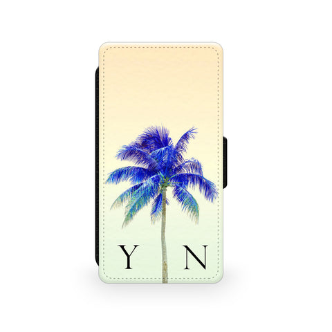 Yellow Sky & Blue Palm Tree - Faux Leather Case - Ai Printing