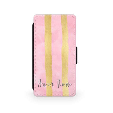 Pink Gold Stripes - Faux Leather Case - Ai Printing