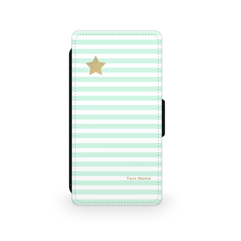 Gold Star Green Stripes - Faux Leather Case - Ai Printing