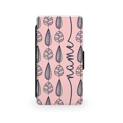 Pink Leaves - Faux Leather Case - Ai Printing
