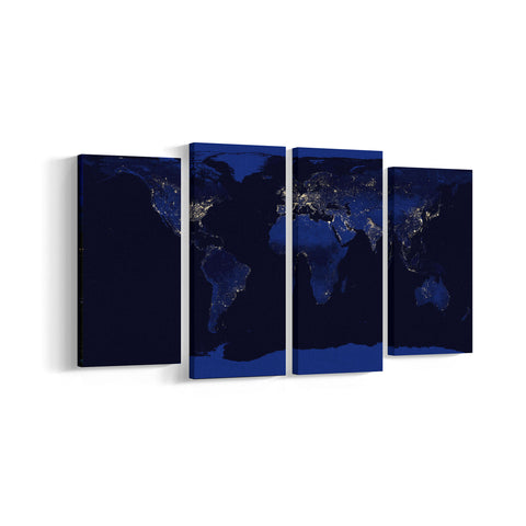 World Map 4 Panel Canvases - Landscape - Ai Printing