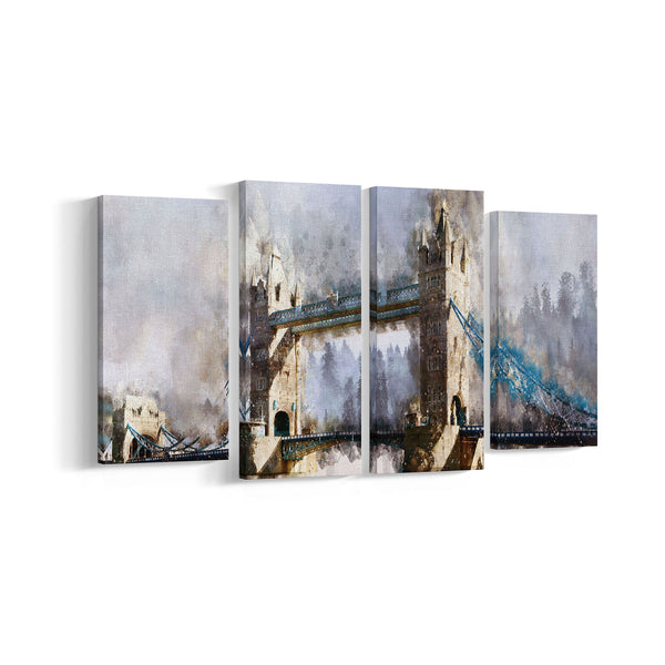 London Bridge Water Colour  4 Panel Canvases - Landscape - Ai Printing