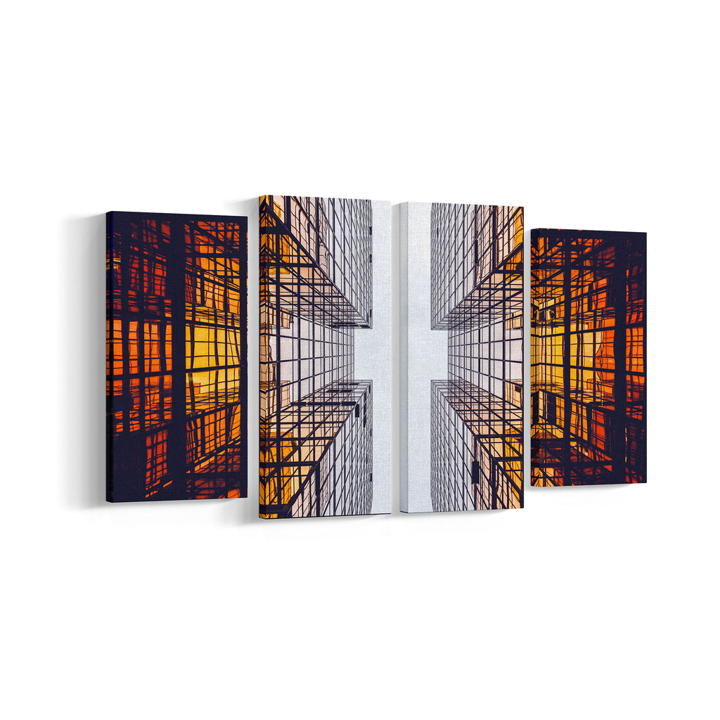 Abstract Building 4 Panel Canvases - Landscape - Ai Printing