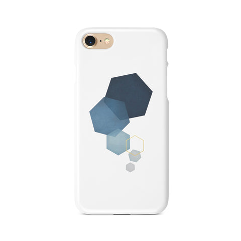 Blue Geometric Hexagons - 3D Clip Case - Ai Printing