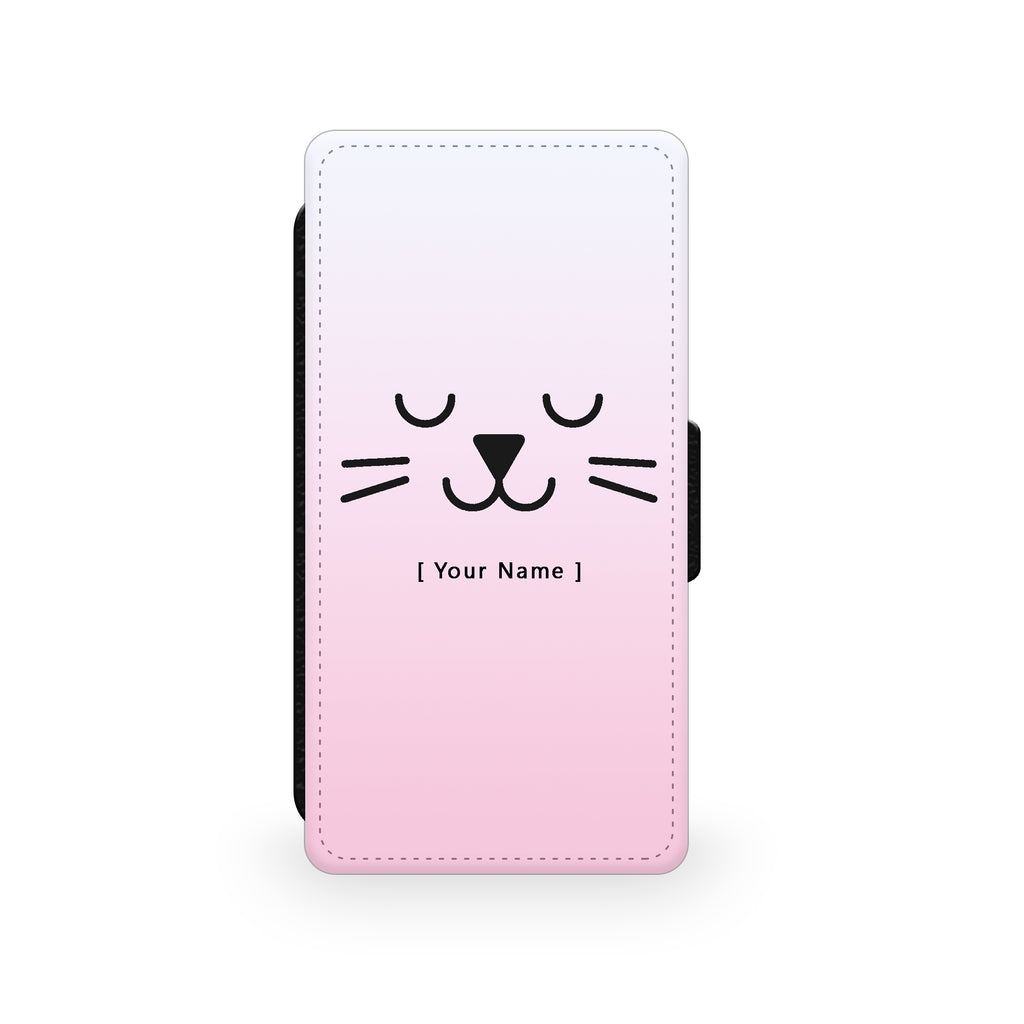 Pink Cat - Faux Leather Case - Ai Printing