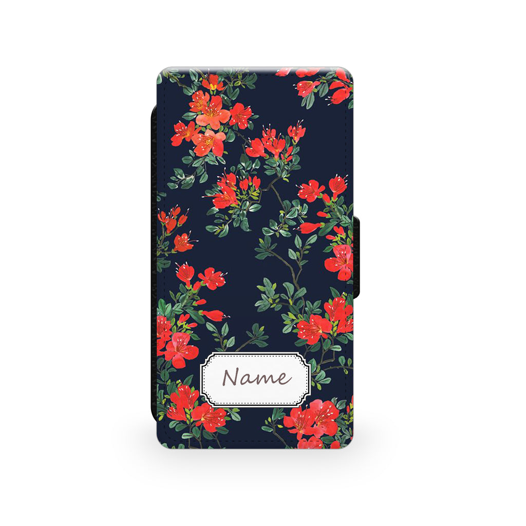 Floral Navy & Red - Faux Leather Case - Ai Printing
