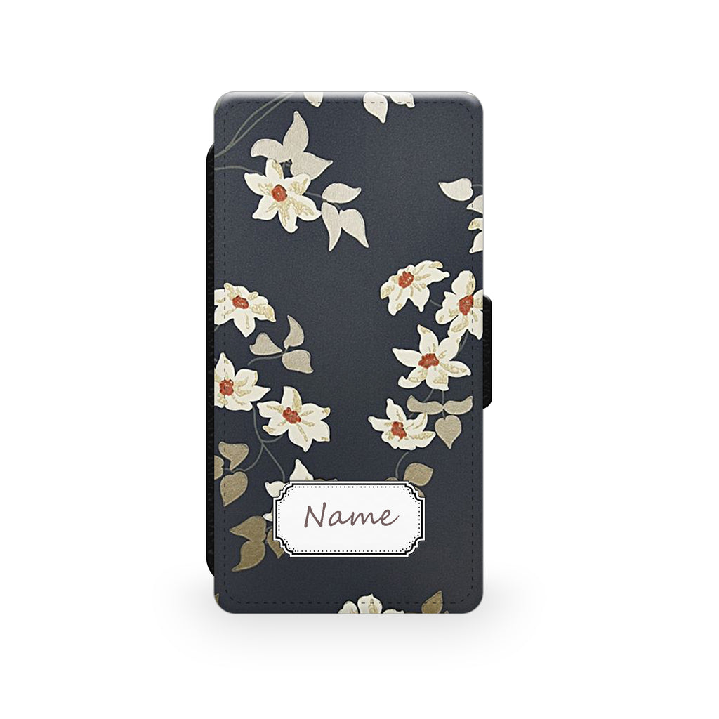 Floral Charcoal - Faux Leather Case - Ai Printing