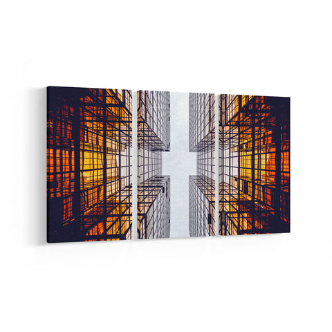 Abstract Building 3 Panel Canvases - Landscape - Ai Printing