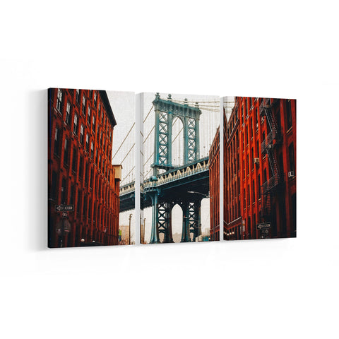 DUMBO Manhattan Bridge 3 Panel Canvases - Landscape - Ai Printing