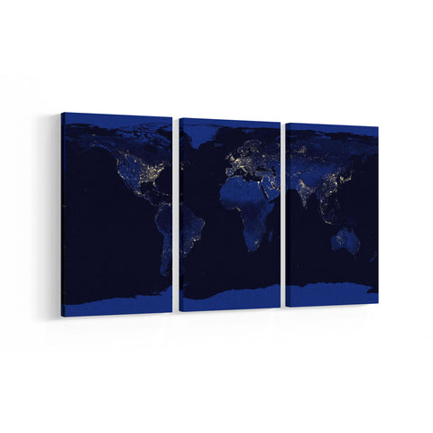 World Map 3 Panel Canvases - Landscape