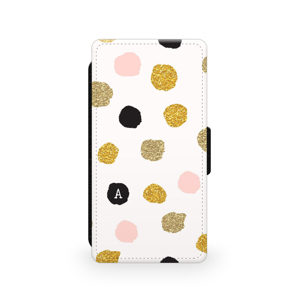 Pink Gold Polkadots - Faux Leather Case - Ai Printing