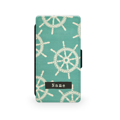 Teal Nautical Pattern - Faux Leather Case - Ai Printing