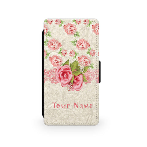 Pink Rose Ribbon - Faux Leather Case - Ai Printing