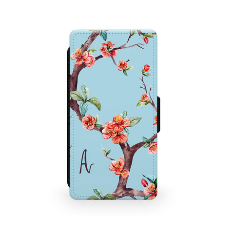 Blue Pink Floral Blossom - Faux Leather Case - Ai Printing