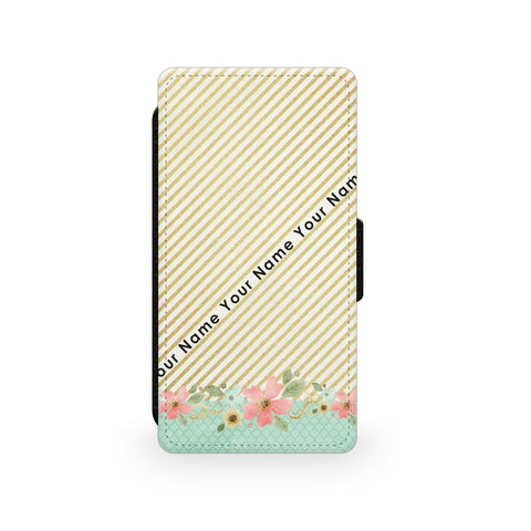 Gold Stripes & Flowers - Faux Leather Case - Ai Printing