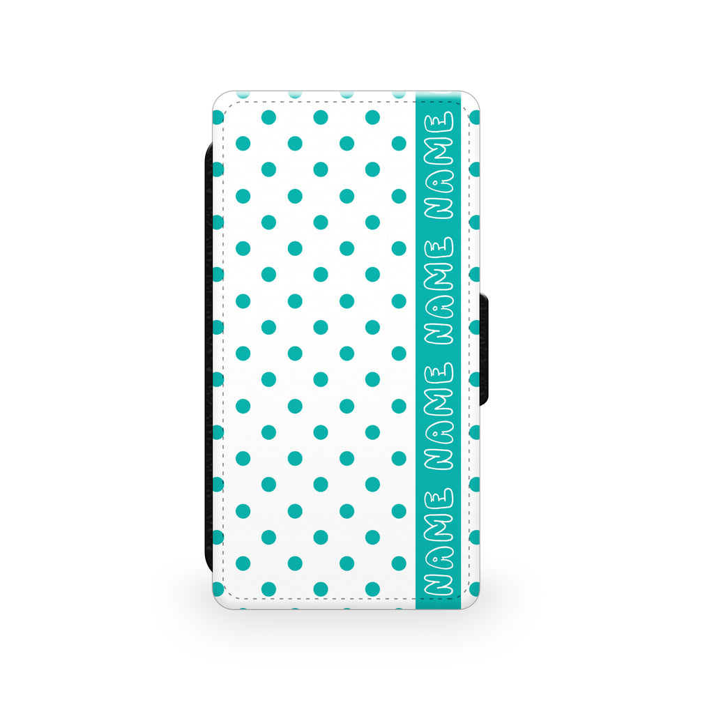 Retro White & Green Polkadots - Faux Leather Case - Ai Printing