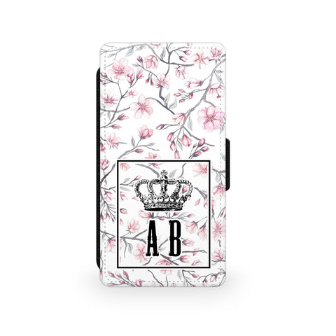 White Pink Flower Crown - Faux Leather Case - Ai Printing