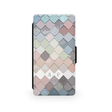 Pastel Fish Scales - Faux Leather Case - Ai Printing