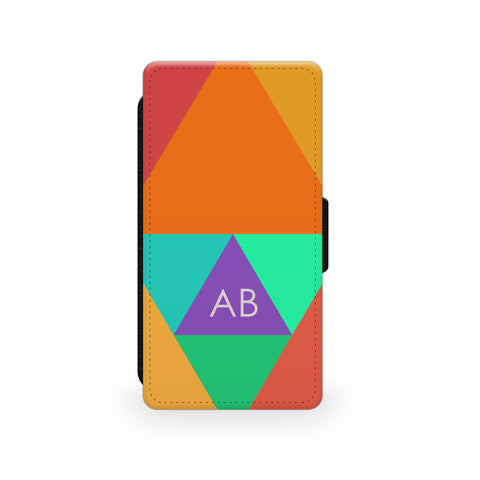 Orange Triangle Blocks - Faux Leather Case - Ai Printing