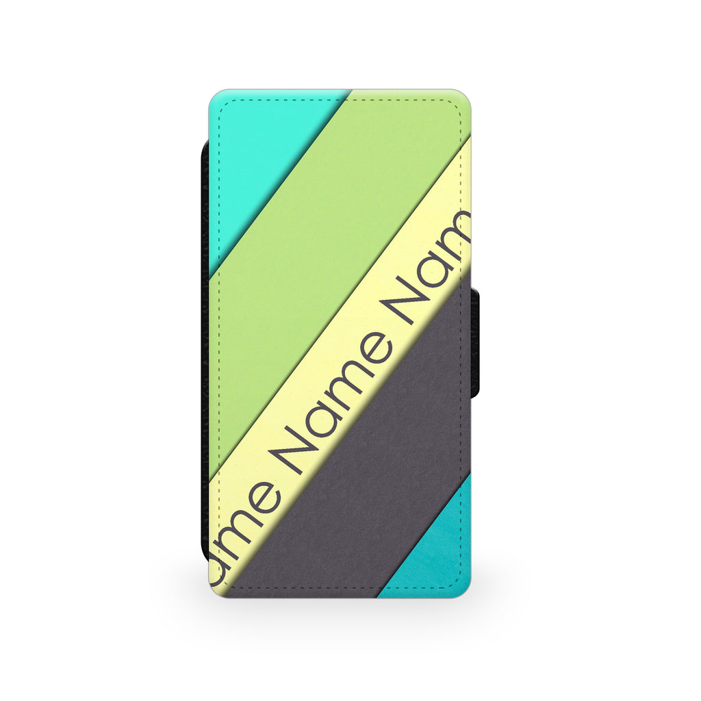 Green Blue Yellow Stripes - Faux Leather Case - Ai Printing