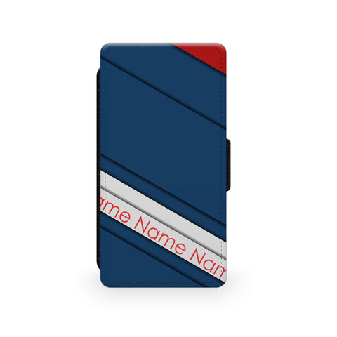 Navy Red Stripes - Faux Leather Case - Ai Printing