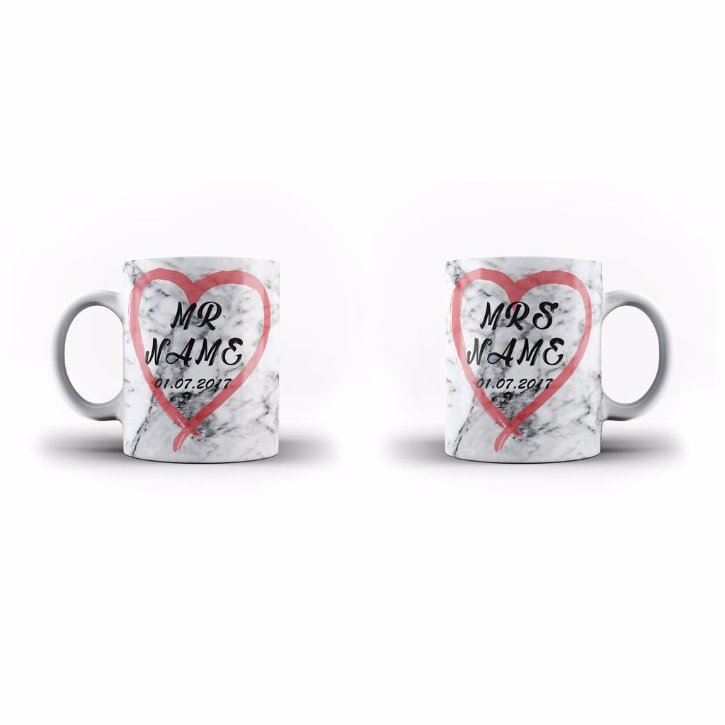 Marble Heart Mr and Mrs - Personalised Mugs - White Set - Ai Printing